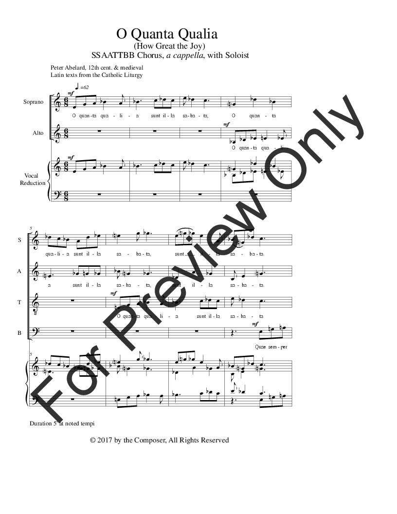 O Quanta Qualia (SATB ) by Bill Sherrill| J W  Pepper Sheet