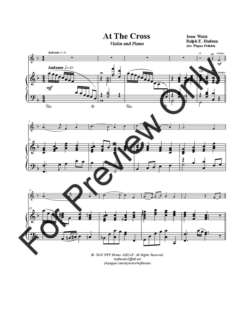 At the Cross (Violin Solo with Piano ) | J W  Pepper Sheet Music