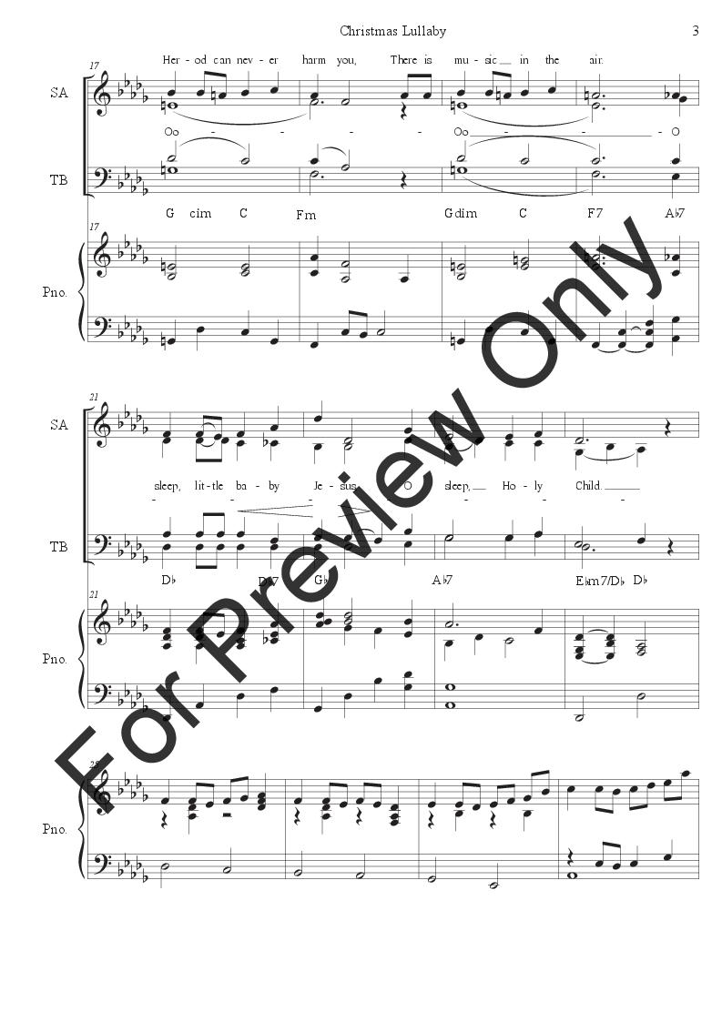 Christmas Lullaby.Christmas Lullaby Satb By Ella Craig J W Pepper Sheet Music
