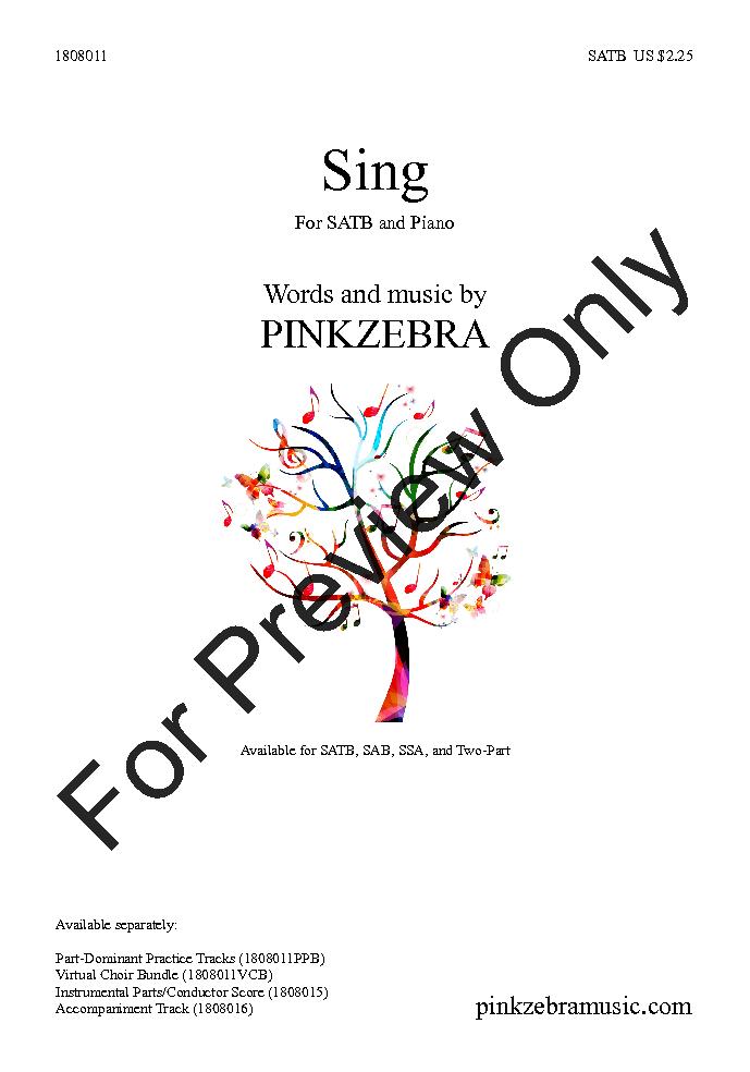 Sing (SATB ) by Pinkzebra| J W  Pepper Sheet Music