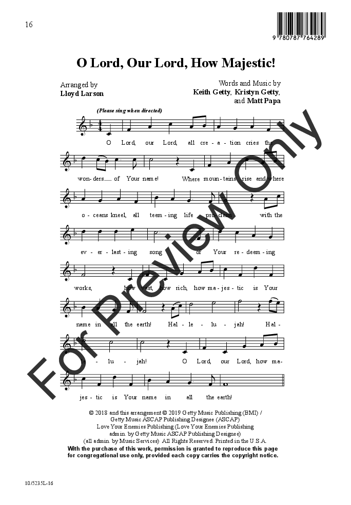 O Lord, Our Lord, How Majestic! (SATB ) by K | J W  Pepper Sheet Music