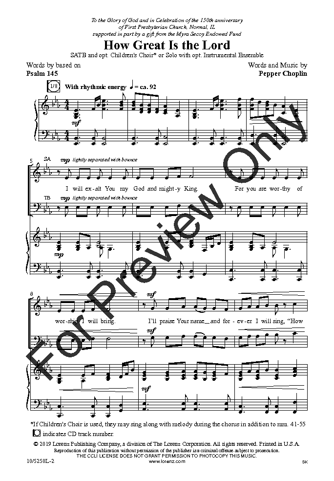 How Great Is the Lord (SATB ) by Pepper Chop   J W  Pepper