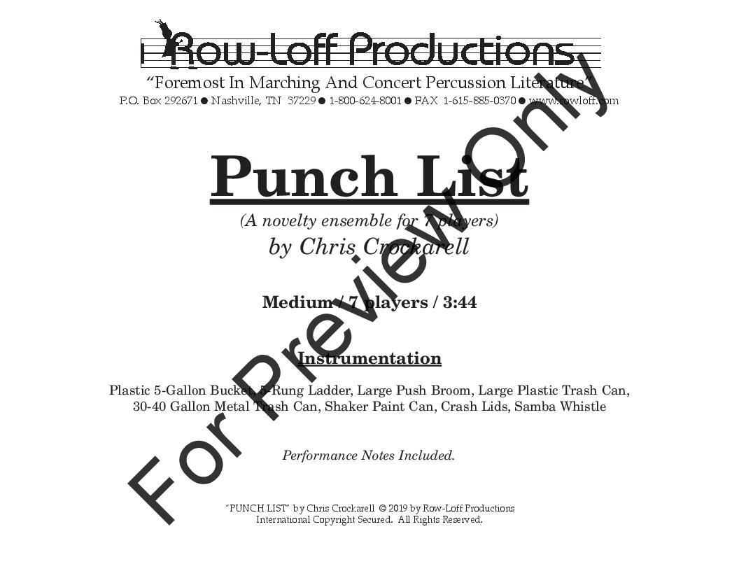 Punch List (Percussion Septet ) by Chri | J W  Pepper Sheet Music