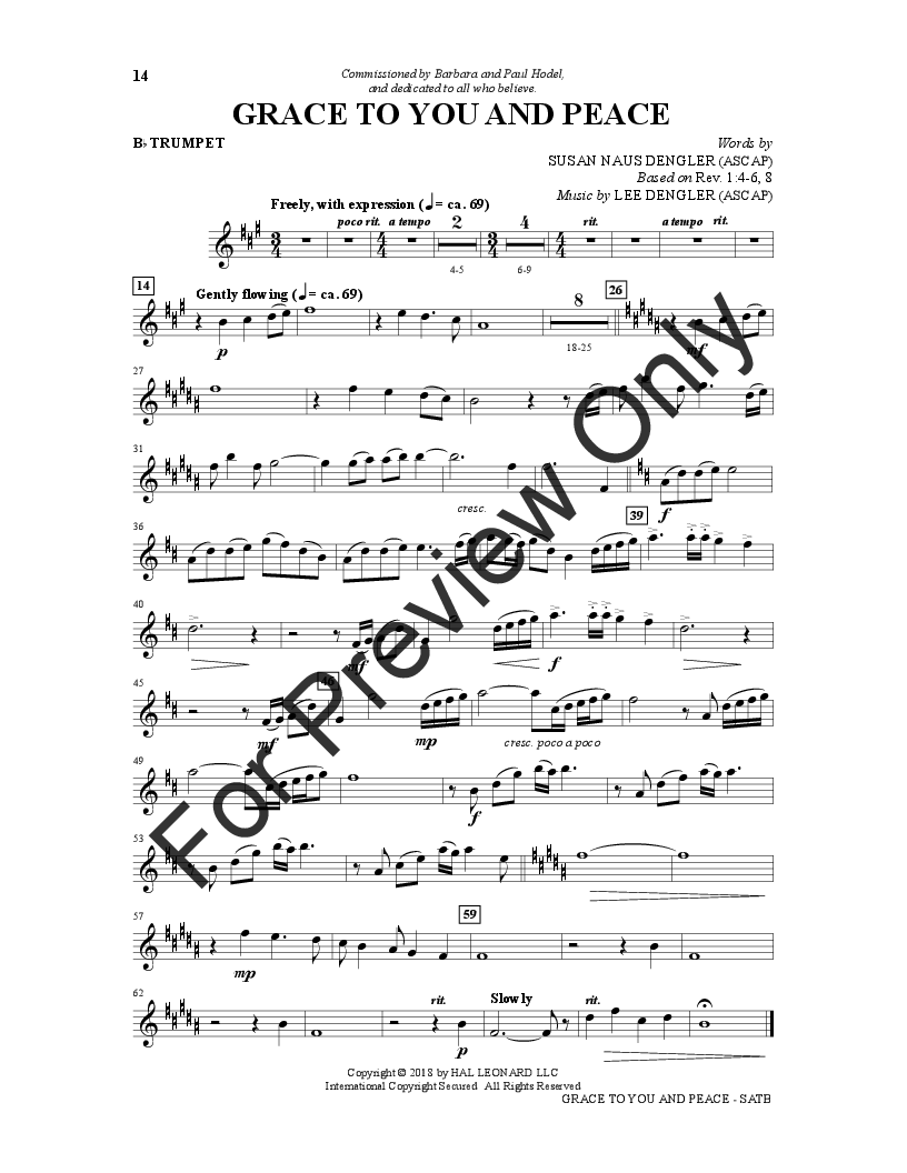 Grace to You and Peace (SATB opt  Trumpet) b | J W  Pepper Sheet Music