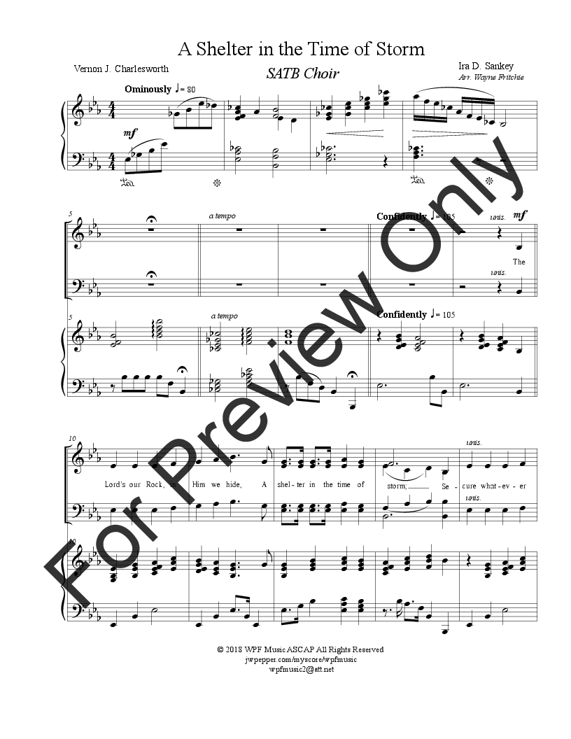 A Shelter in the Time of Storm (SATB ) by Ve | J W  Pepper Sheet Music