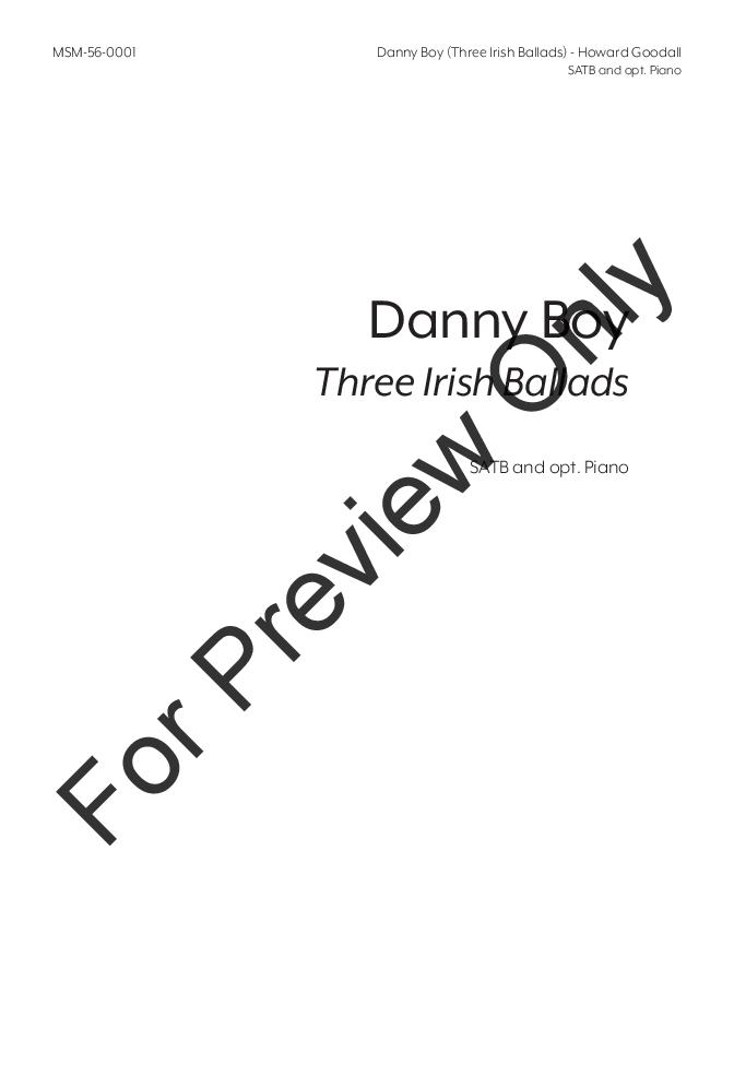 Danny Boy : Three Irish Ballads (SATB ) by H   J W  Pepper