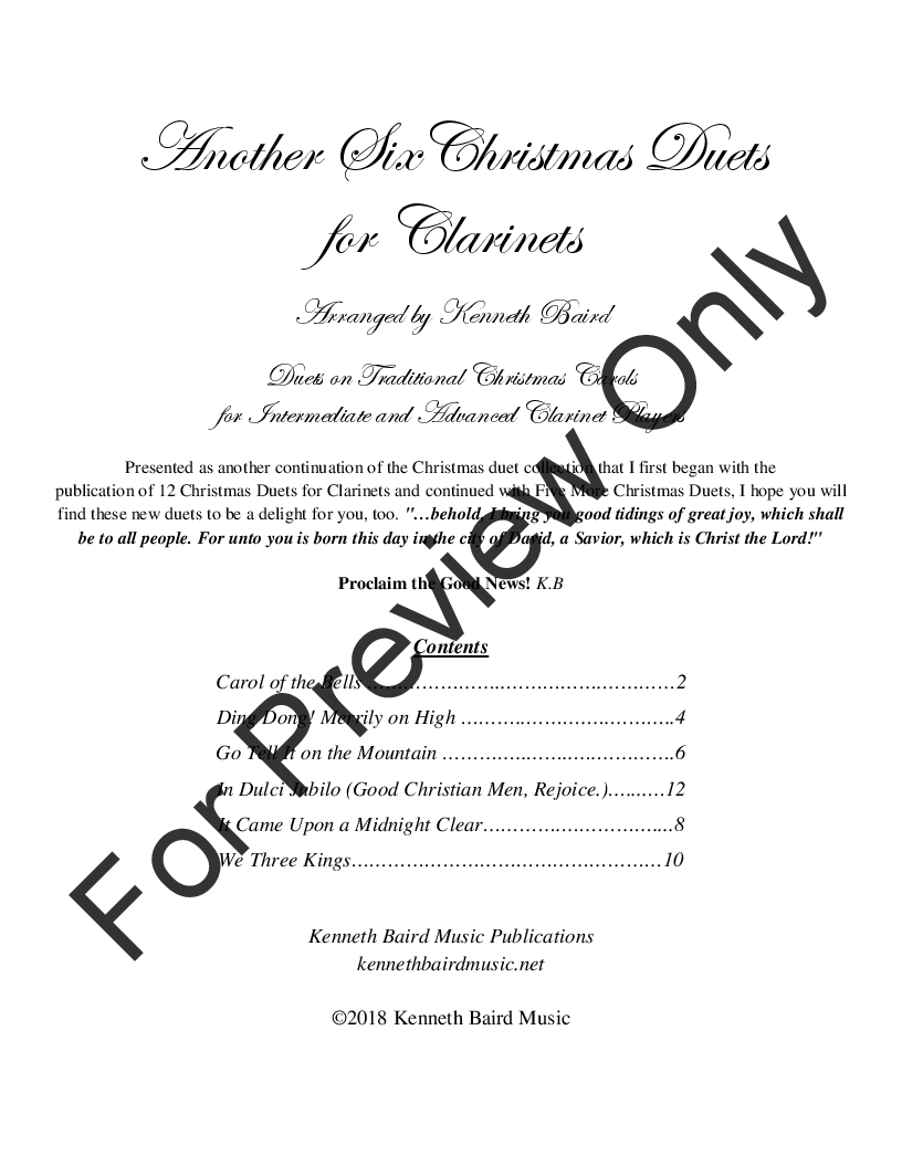 Another Six Christmas Duets (Clarinet Book&n | J W  Pepper Sheet