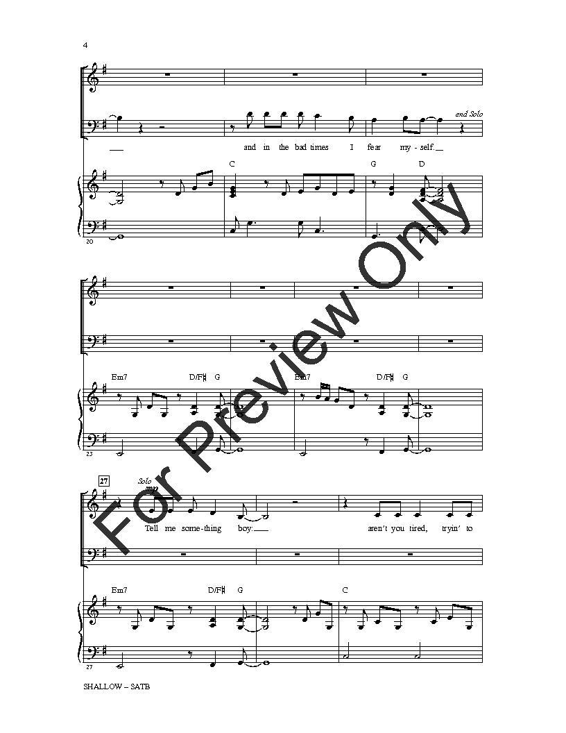 Shallow (SATB ) arr  Mac Huff| J W  Pepper Sheet Music