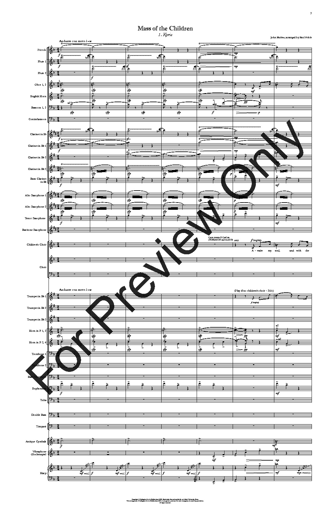 Mass of the Children (Complete) by John Rutter / | J W