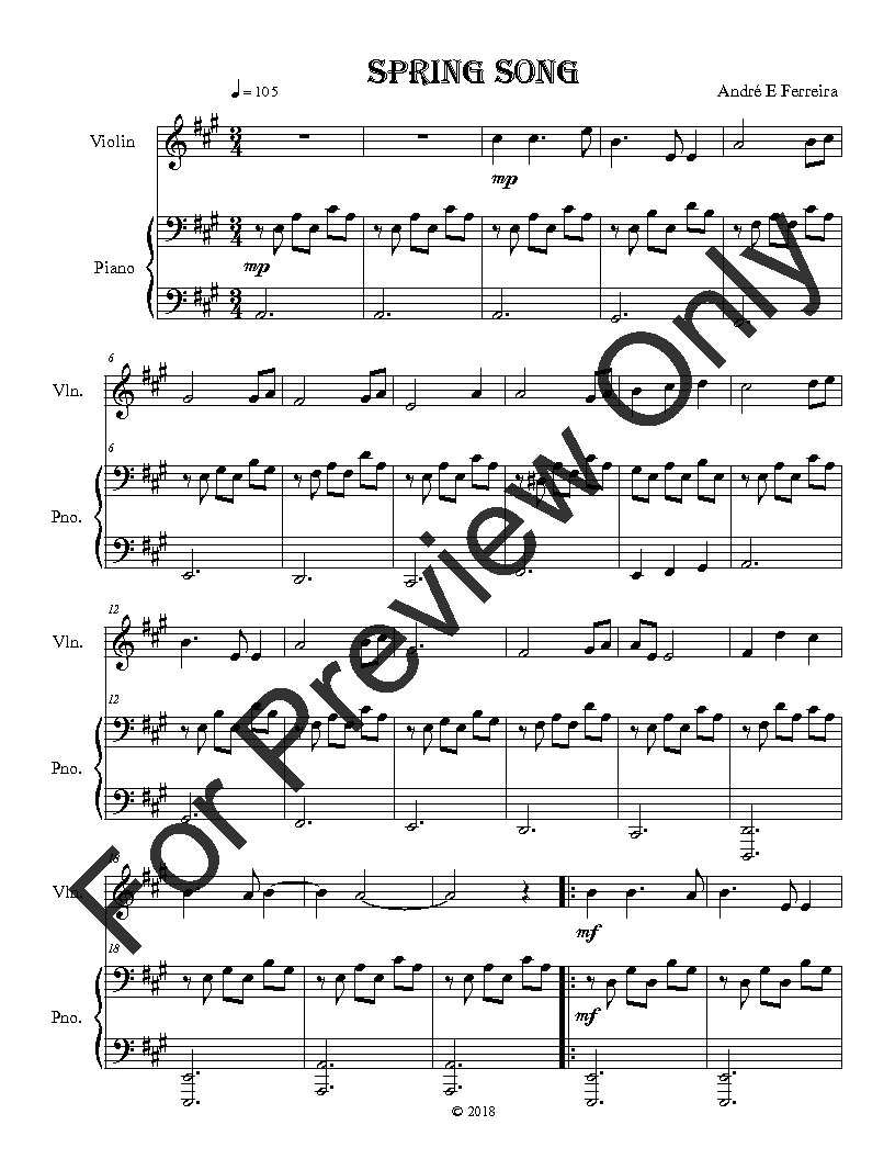 Spring Song Violin Solo With Piano B Jw Pepper Sheet