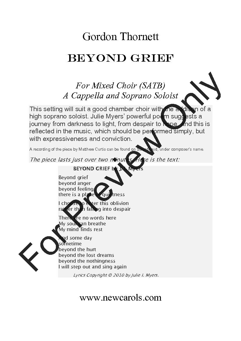 Beyond Grief (SATB ) by Gordon Thornett| J W  Pepper Sheet Music
