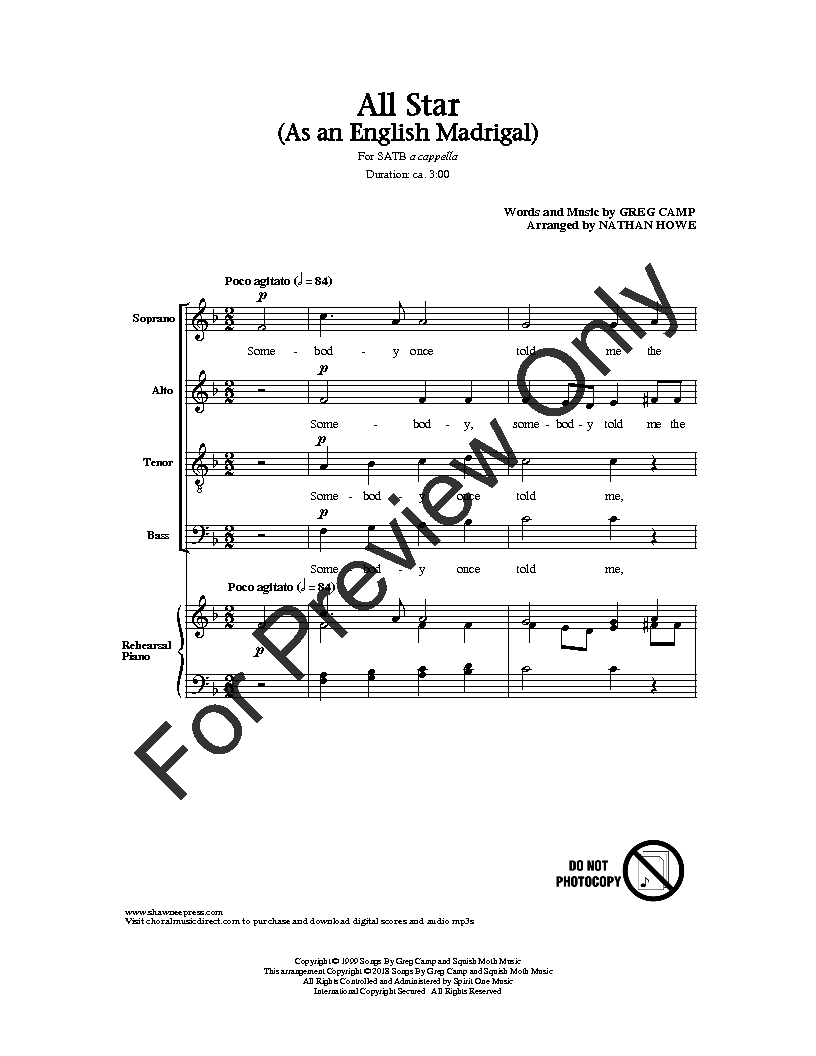 All Star (SATB ) by Greg Camp/arr  Nathan Ho | J W  Pepper