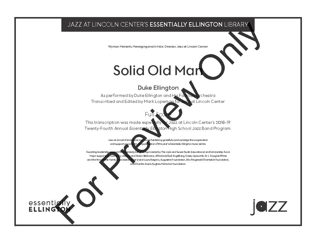 Solid Old Man by Duke Ellington/ed  Mark Lopeman| J W  Pepper