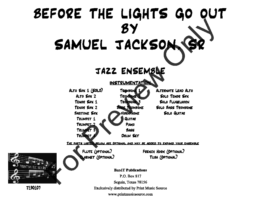Before the Lights Go Out by Samuel Jackson, Sr| J W  Pepper Sheet