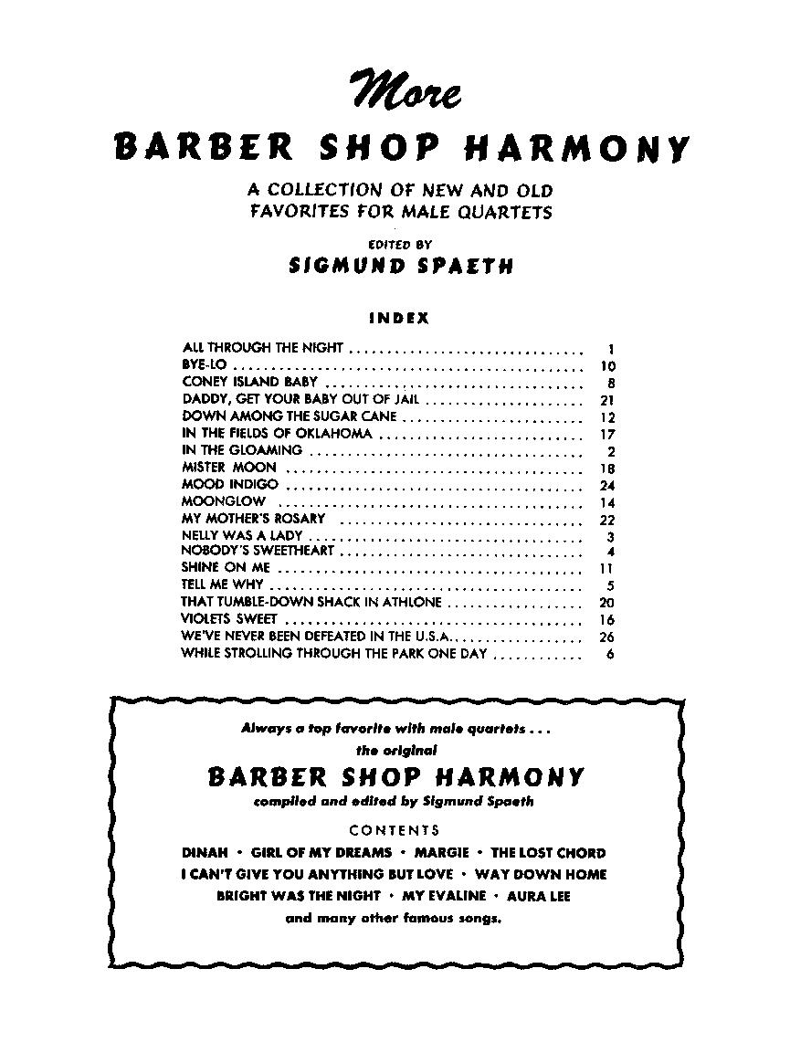 More Barbershop Harmony (TTBB Choral Score&n | J W  Pepper
