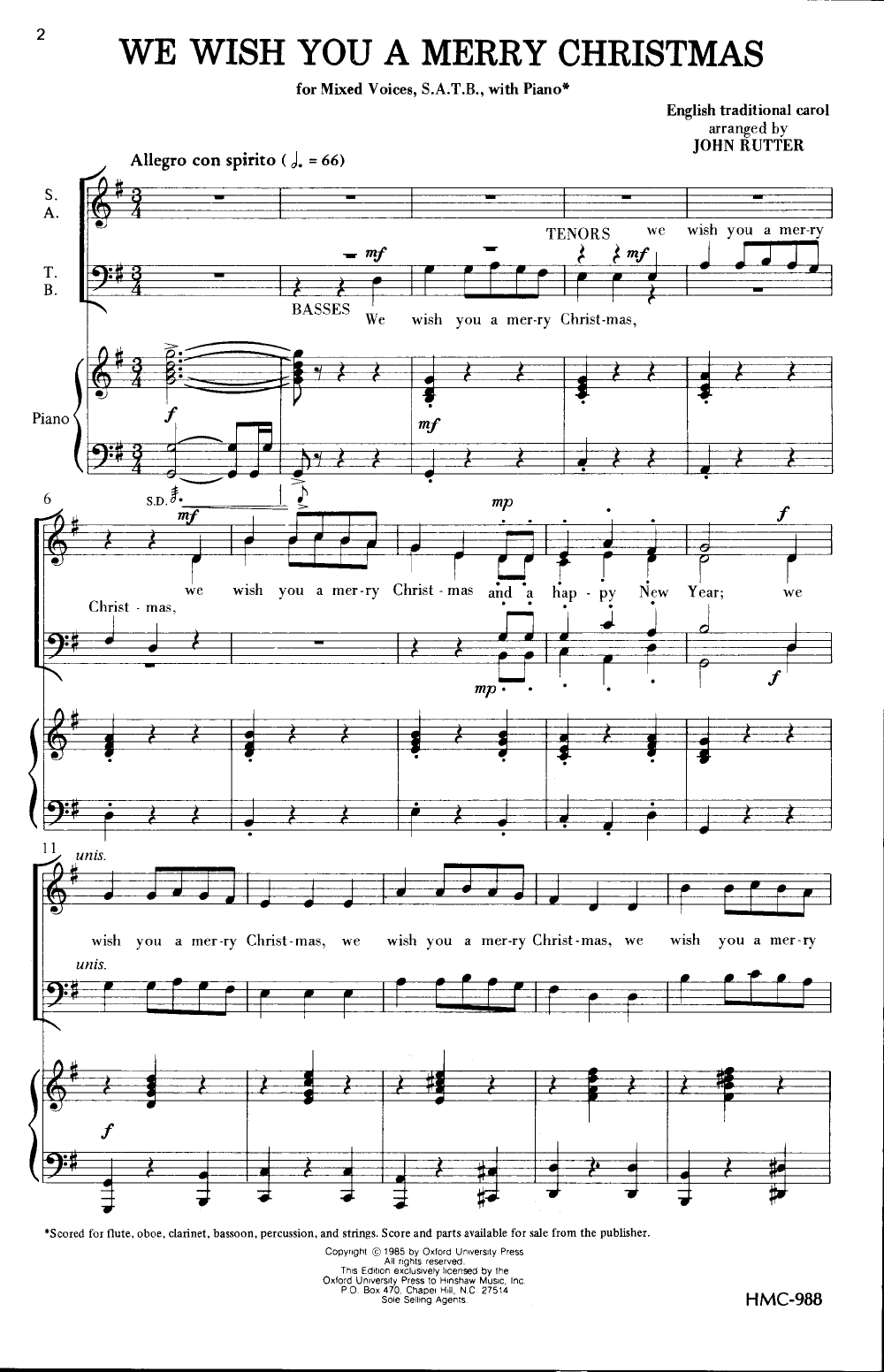 Wish You Merry Christmas Piano Notes.We Wish You A Merry Christmas Satb Arr J J W Pepper