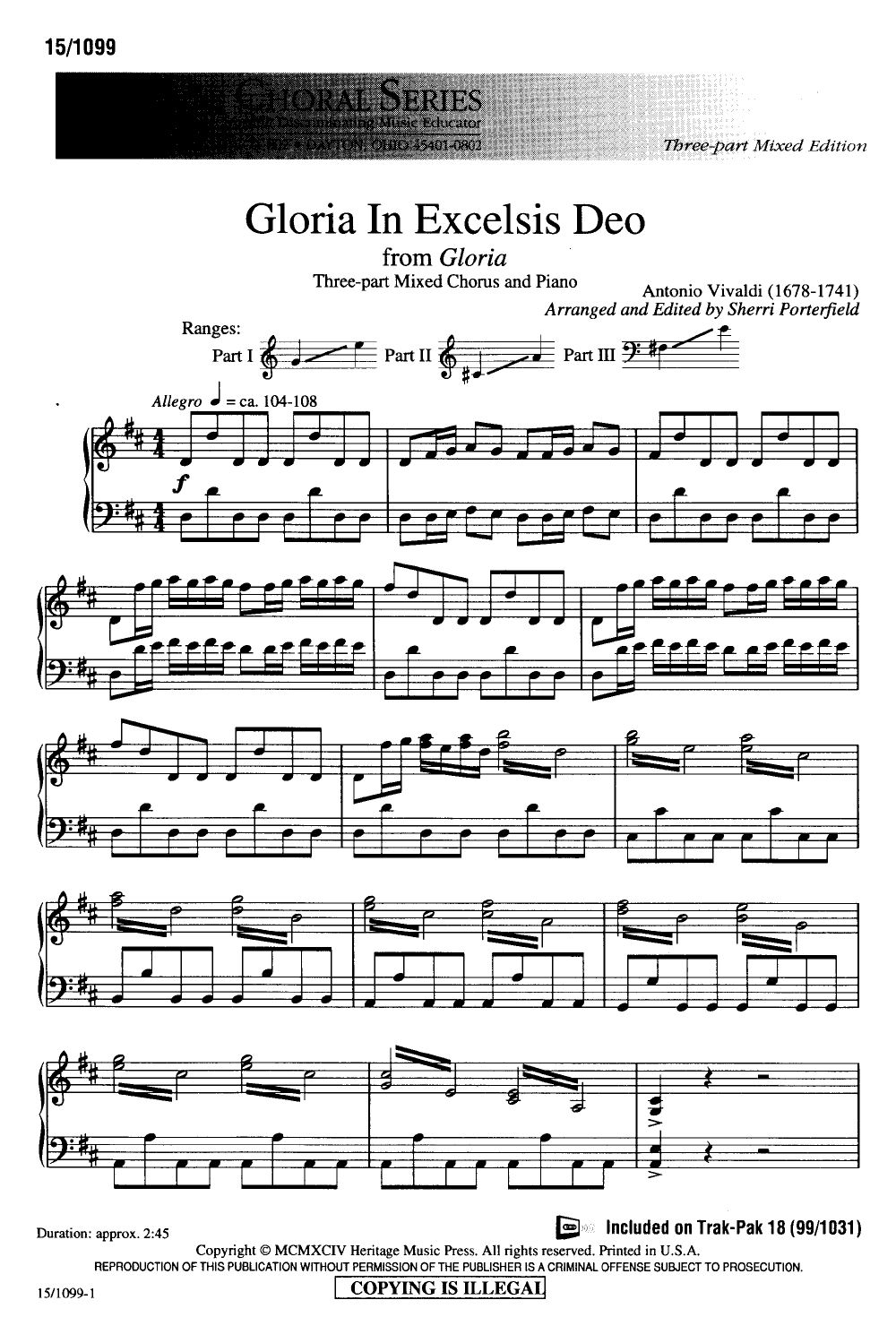 Gloria in Excelsis Deo (Three-Part Mixed ) b | J.W. Pepper Sheet Music