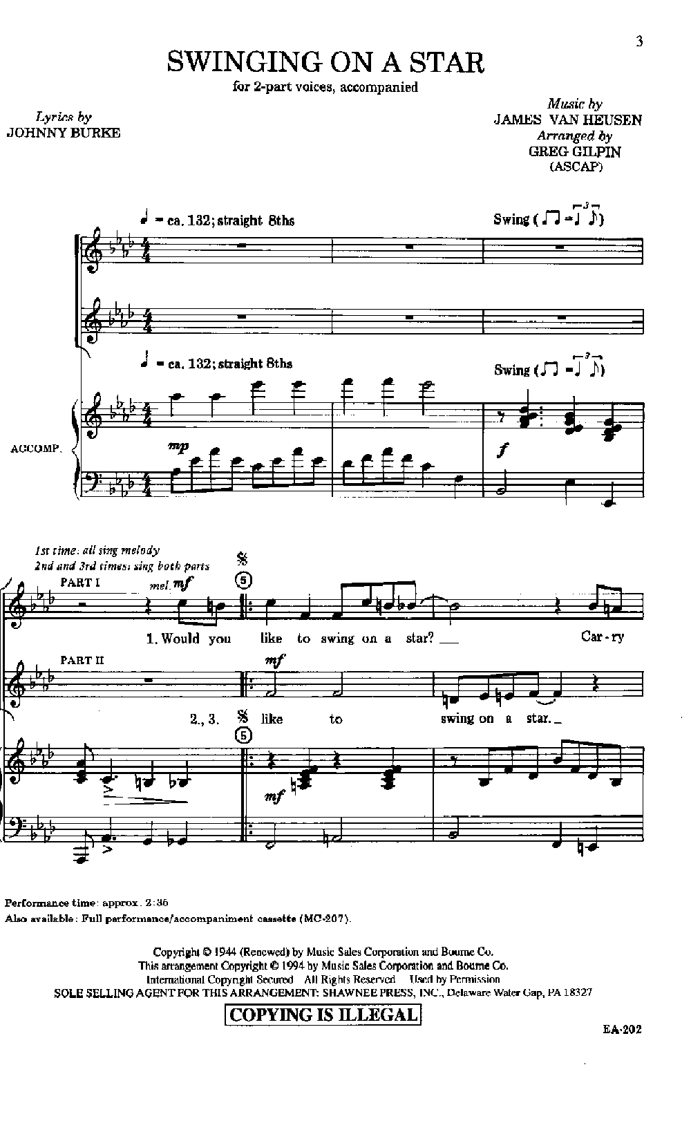 Swinging on a star sheet music
