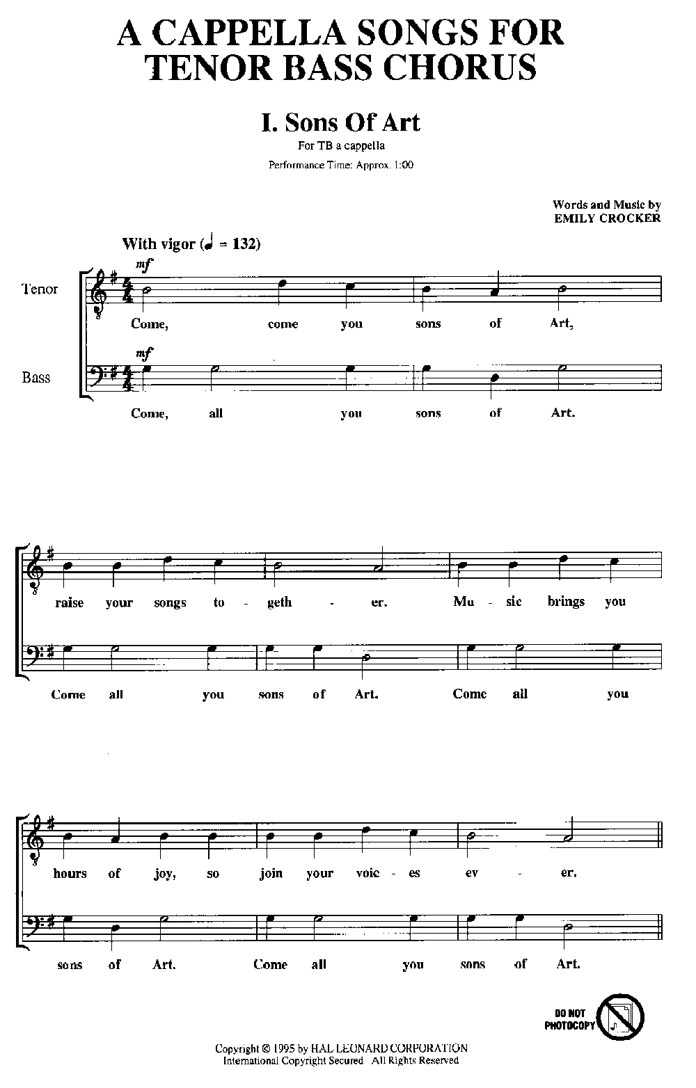 A Cappella Songs for Tenor-Bass Chorus (TB B | J W  Pepper