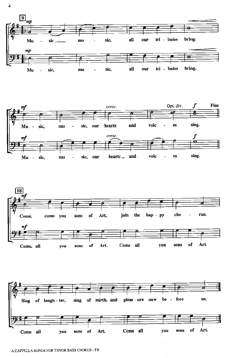 A Cappella Songs for Tenor-Bass Chorus (TB B | J W  Pepper