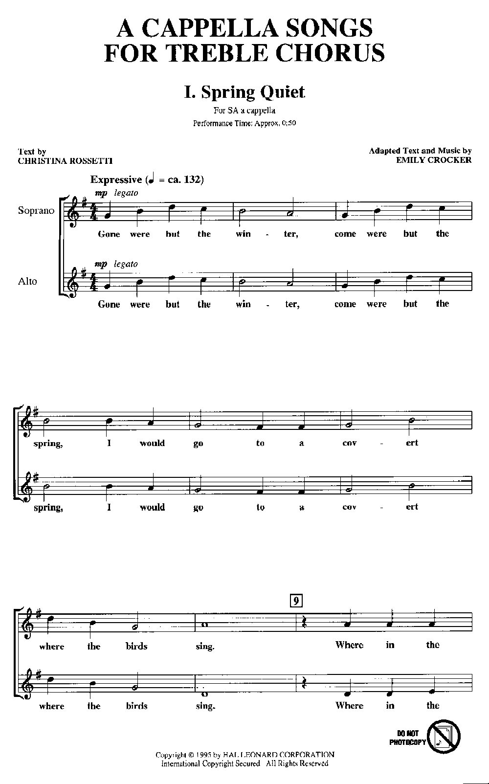 A Cappella Songs for Treble Chorus (SA Book | J W  Pepper