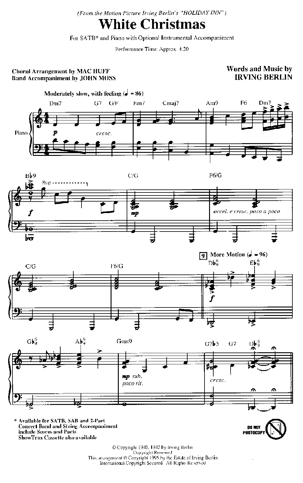 White Christmas Irving Berling.White Christmas Satb By Irving Berlin Arr J W Pepper Sheet Music