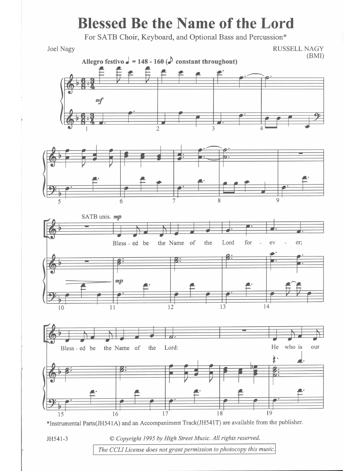Blessed Be the Name of the Lord (SATB ) | J W  Pepper Sheet