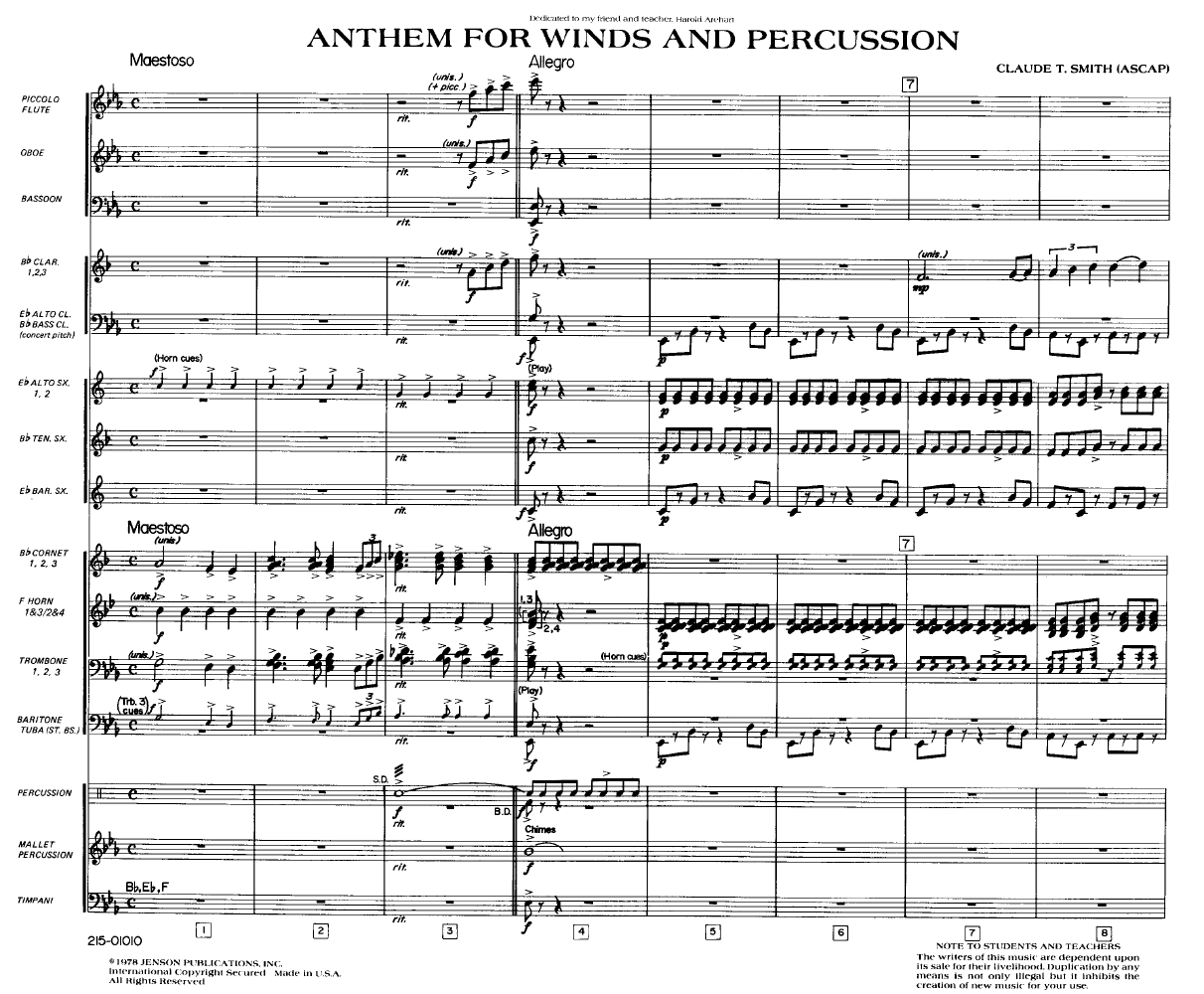 Anthem for Winds and Percussion Thumbnail