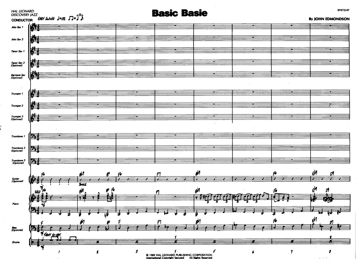 basic basie by edmondson j w pepper sheet music