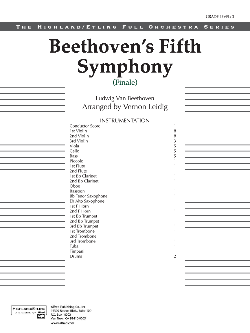 Beethoven's Fifth Symphony Finale by Beethoven/ar | J W  Pepper