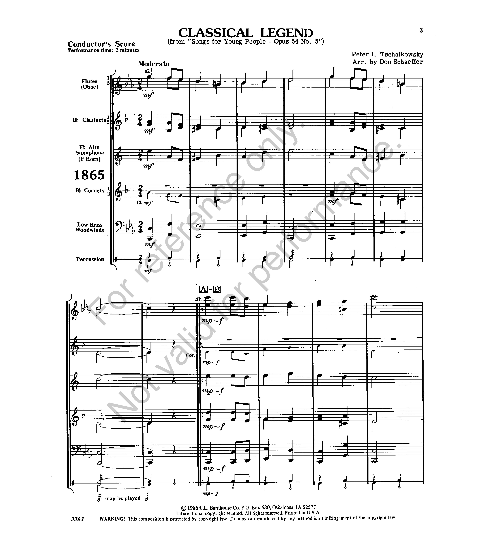 Classical Legend by TCHAIKOVSK   J W  Pepper Sheet Music