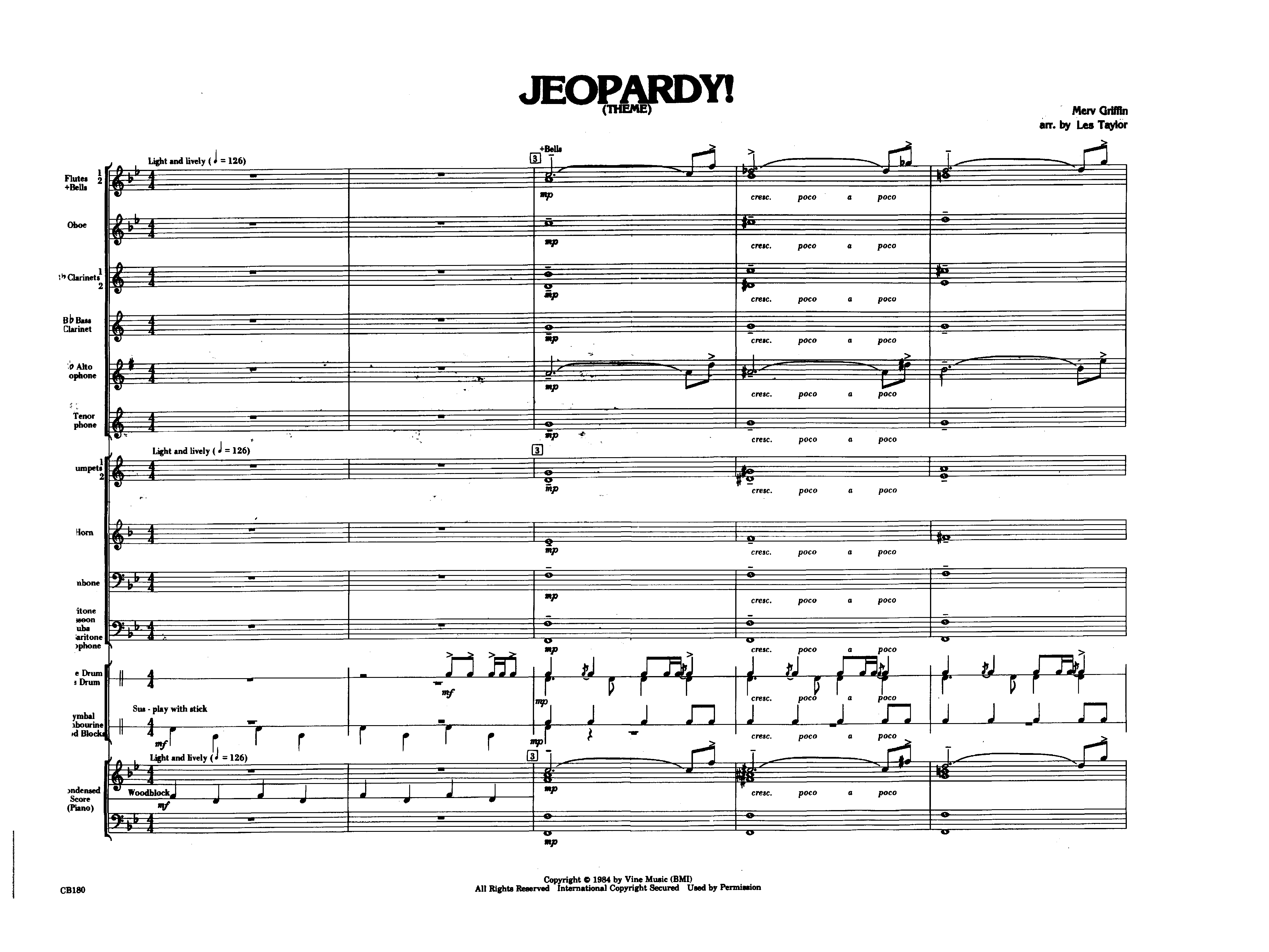 Jeopardy Theme By Taylor Jw Pepper Sheet Music