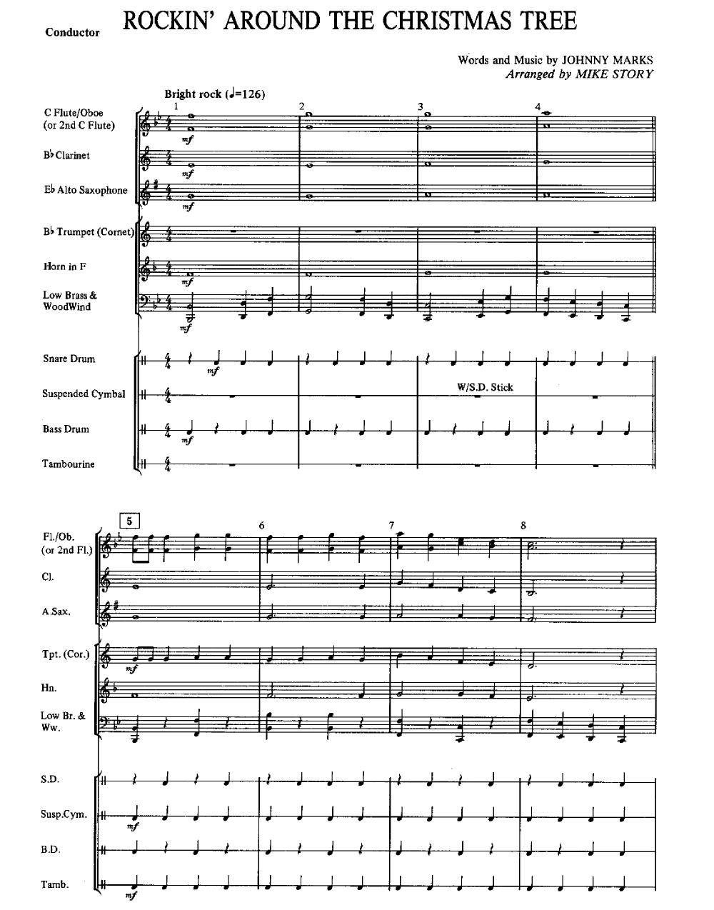 Rockin Around The Christmas Tree Piano Sheet Music.Rocking Around The Christmas Tree Arr Mike Story J W