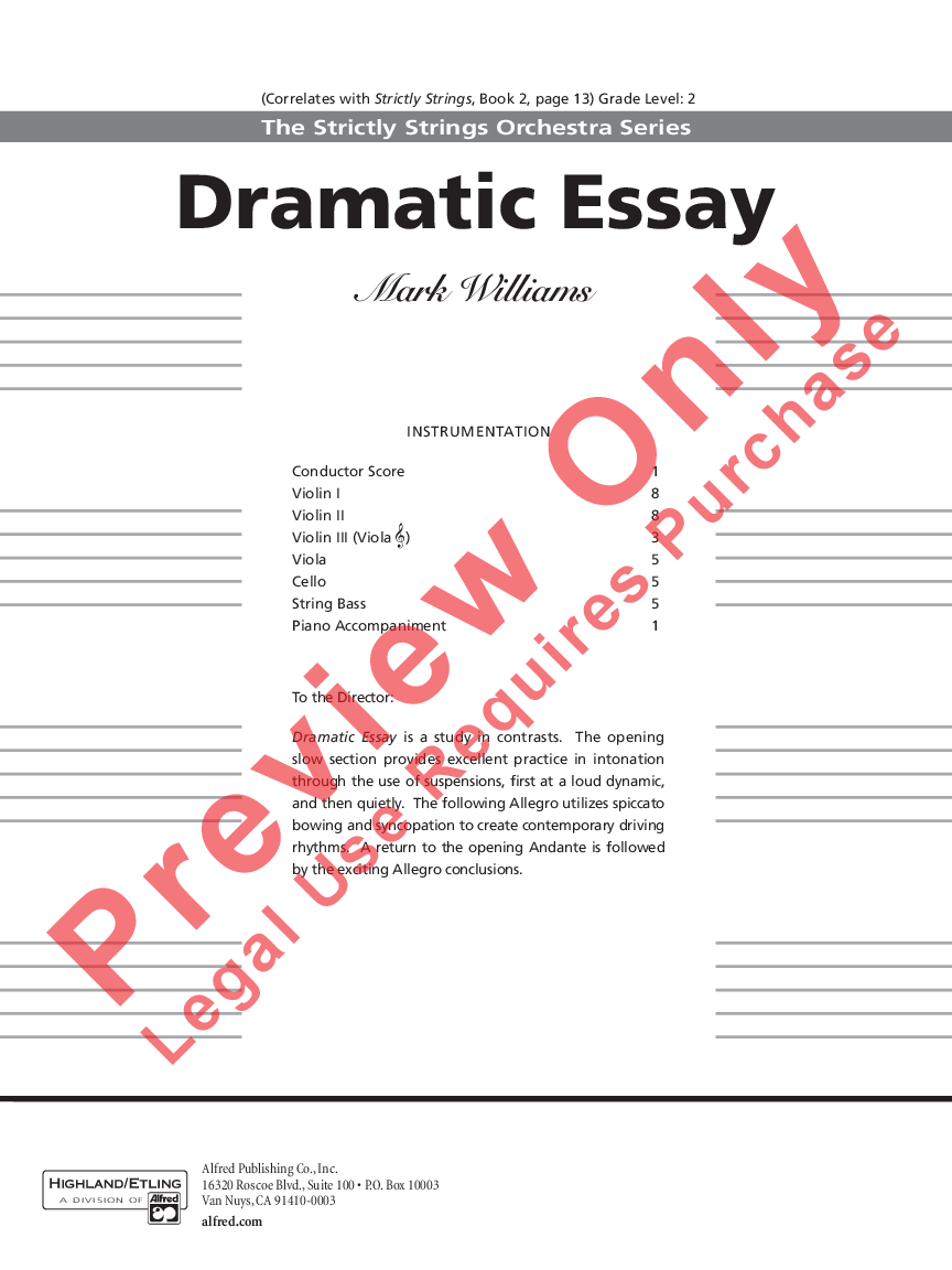 Dramatic Essay by Mark Williams| J W  Pepper Sheet Music