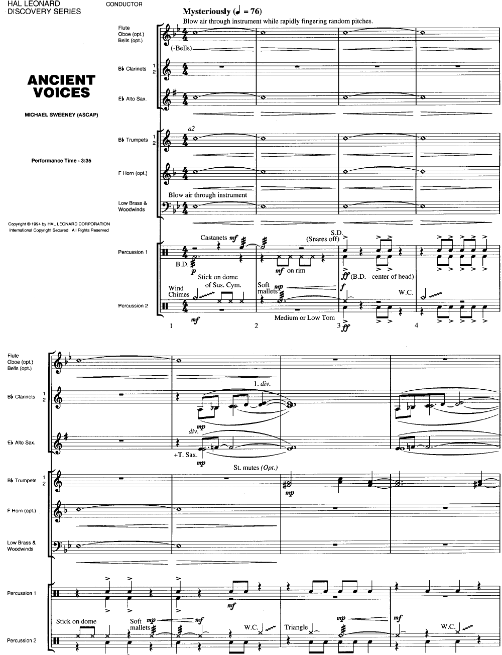 Ancient Voices by Michael Sweeney| J W  Pepper Sheet Music