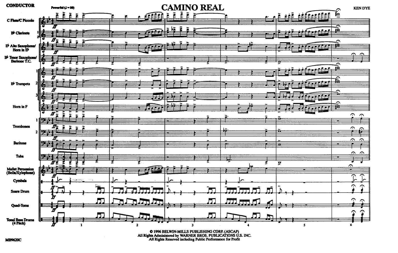 Camino Real by DYE, K  J W  Pepper Sheet Music