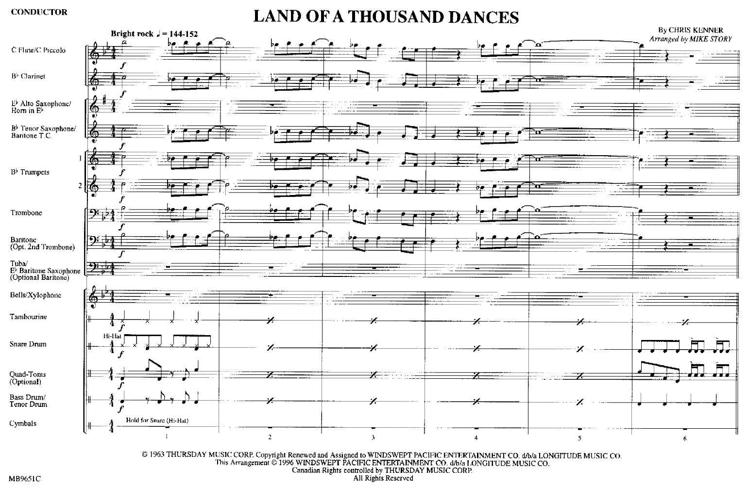 Land of a Thousand Dances arr  Mike Story| J W  Pepper Sheet