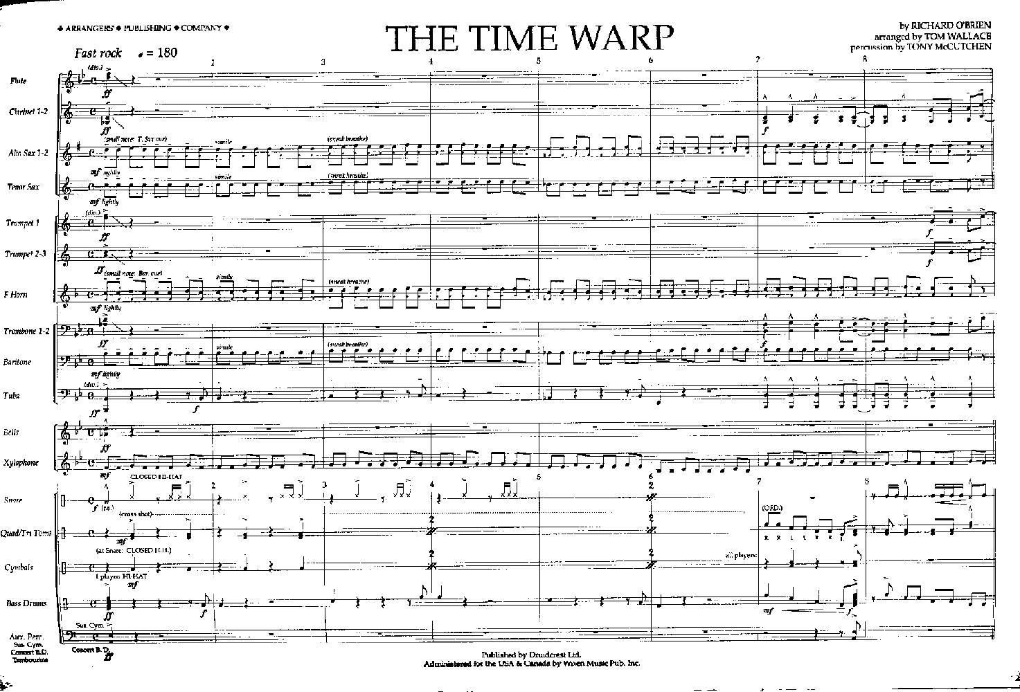 Time Warp arr  Tom Wallace| J W  Pepper Sheet Music
