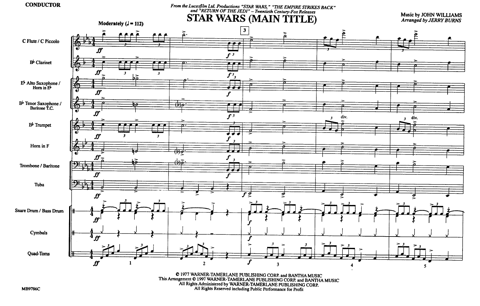 Star Wars Main Theme By Burns J Jw Pepper Sheet Music