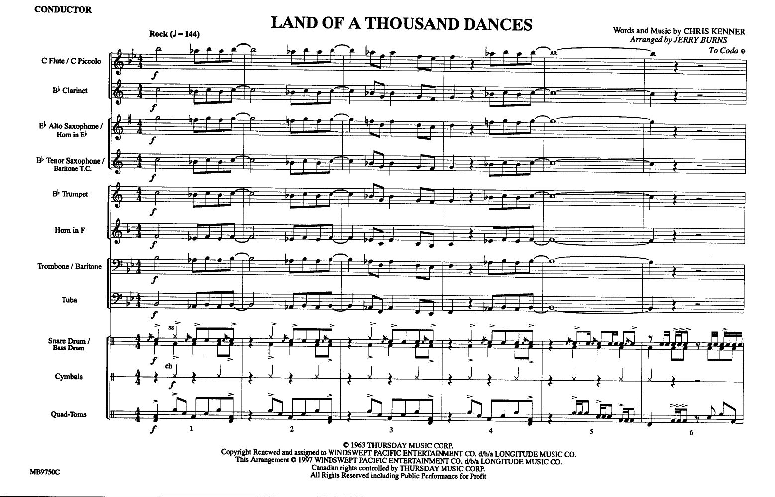 Land of a Thousand Dances arr  Jerry Burns| J W  Pepper