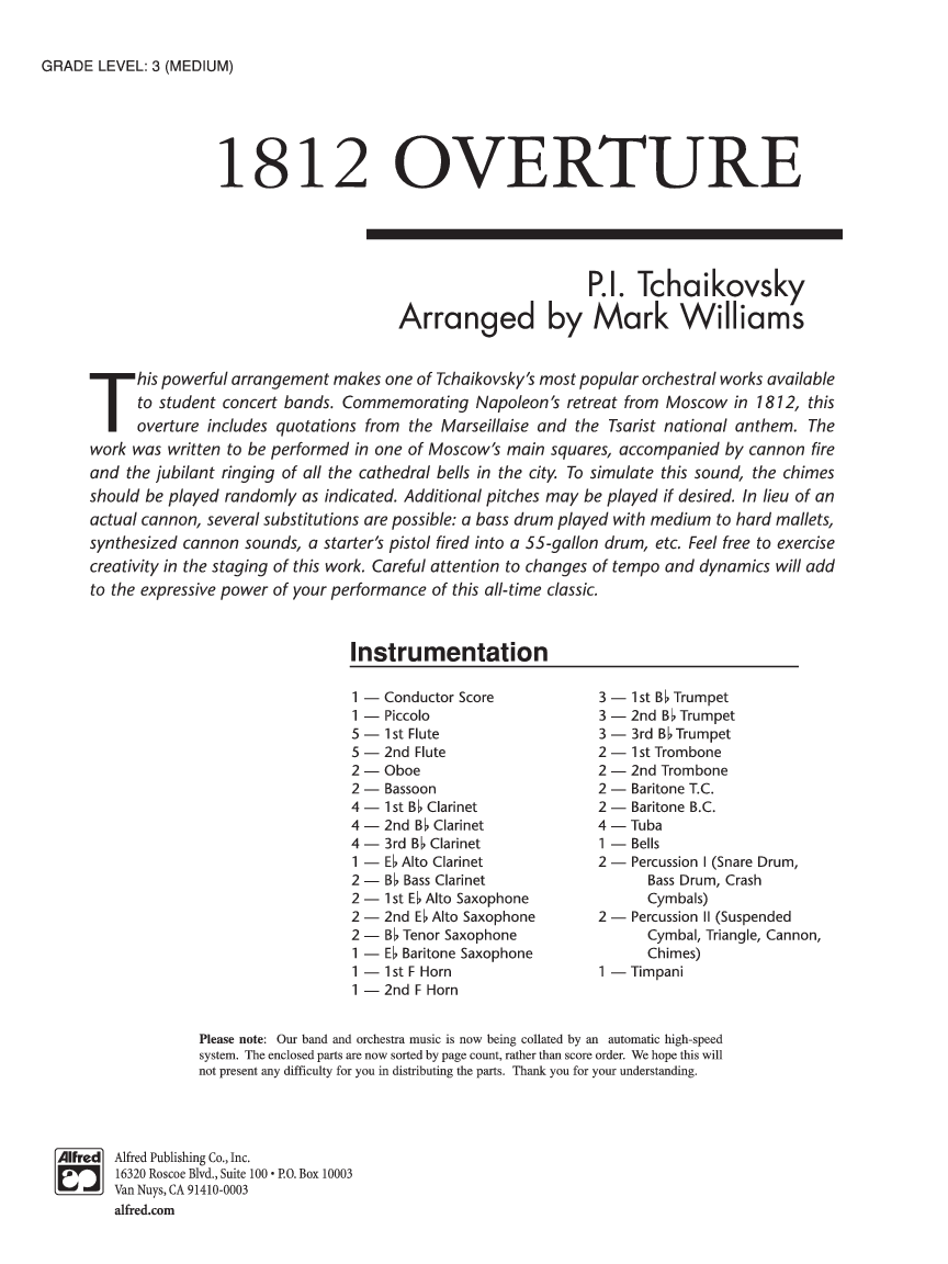 How To Top 1812 Overture How About >> 1812 Overture By Tchaikovsky Arr Williams J W Pepper Sheet Music