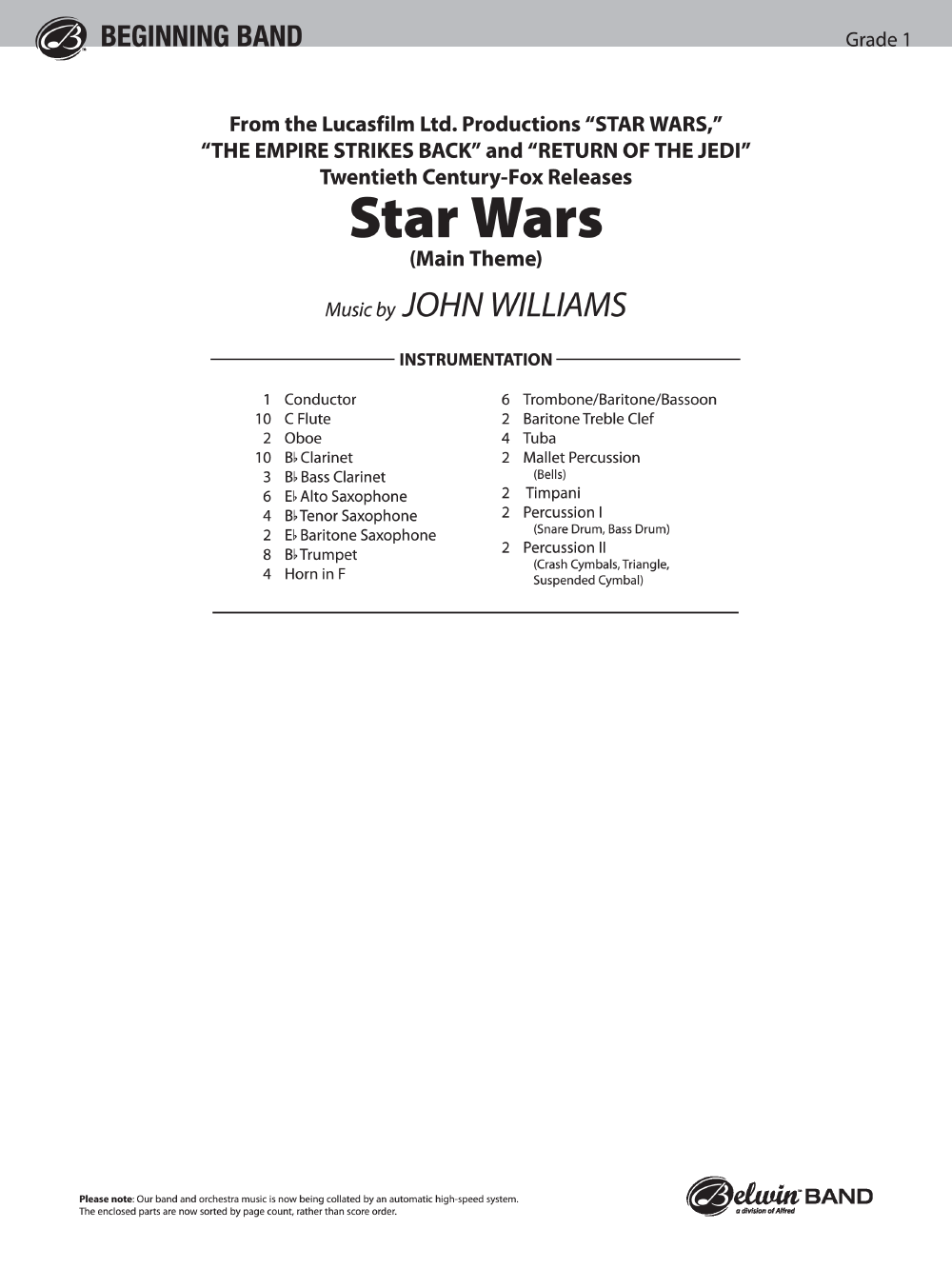 Star Wars By John Williamsarr Carl Strommen Jw Pepper Sheet