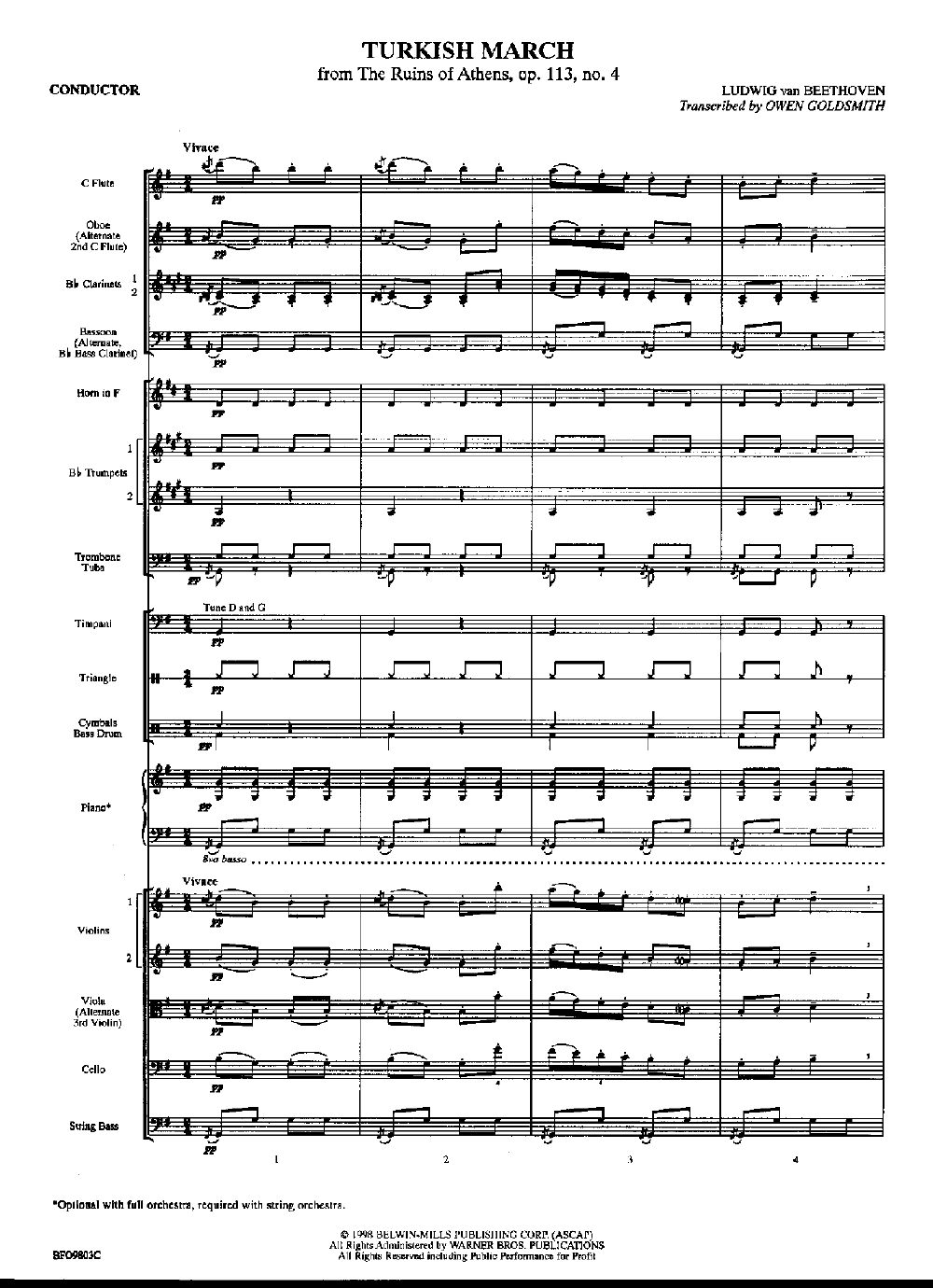 Turkish March by Beethoven/Goldsmith| J W  Pepper Sheet Music