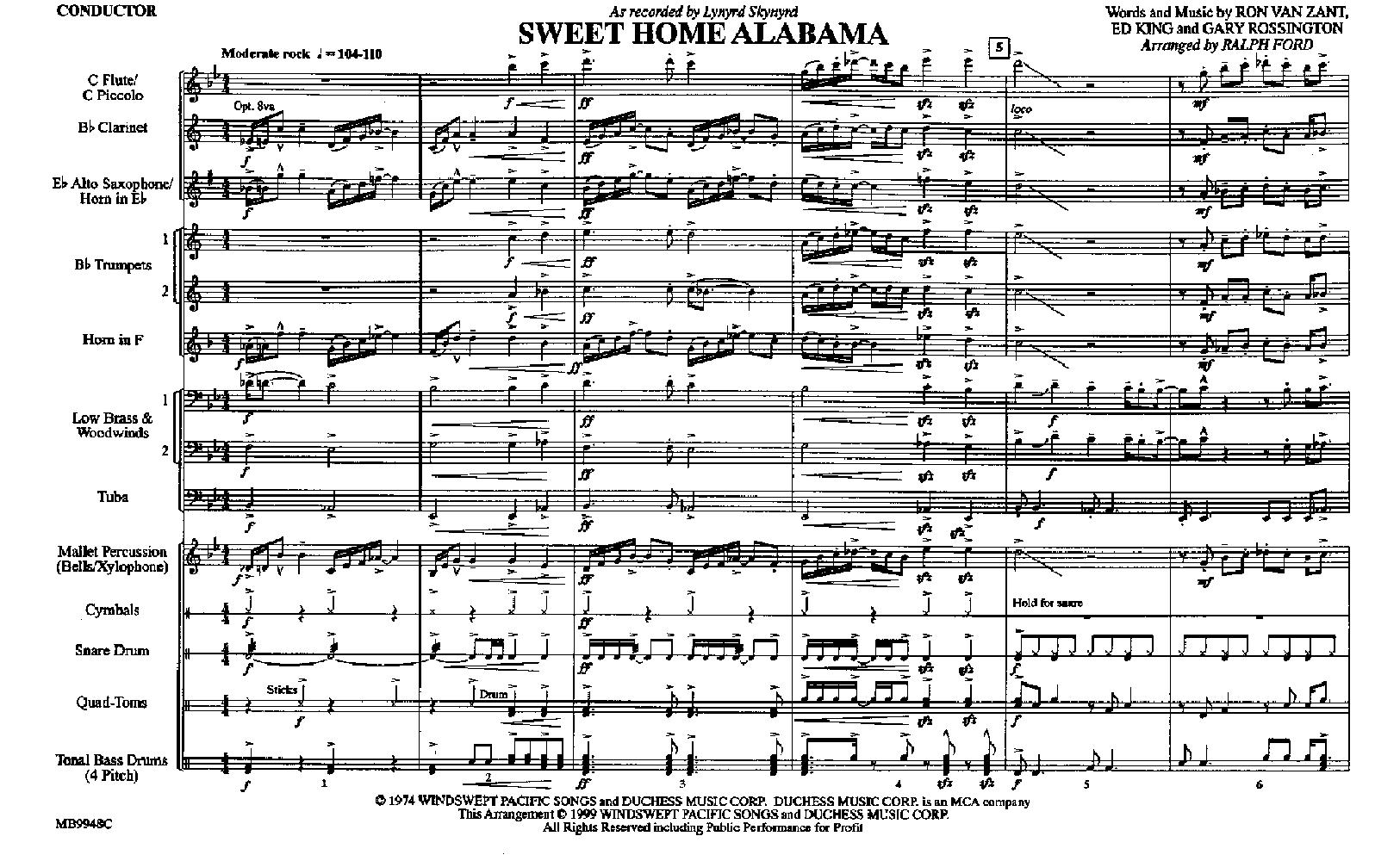 Sweet Home Alabama arr  Ralph Ford| J W  Pepper Sheet Music