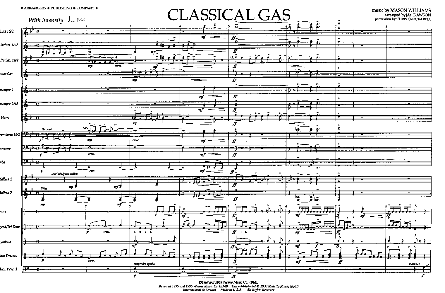 Classical Gas by DAWSON, J| J W  Pepper Sheet Music
