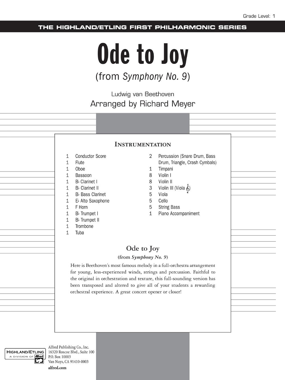 Ode to Joy by Ludwig van Beethoven/arr  Richard M | J W