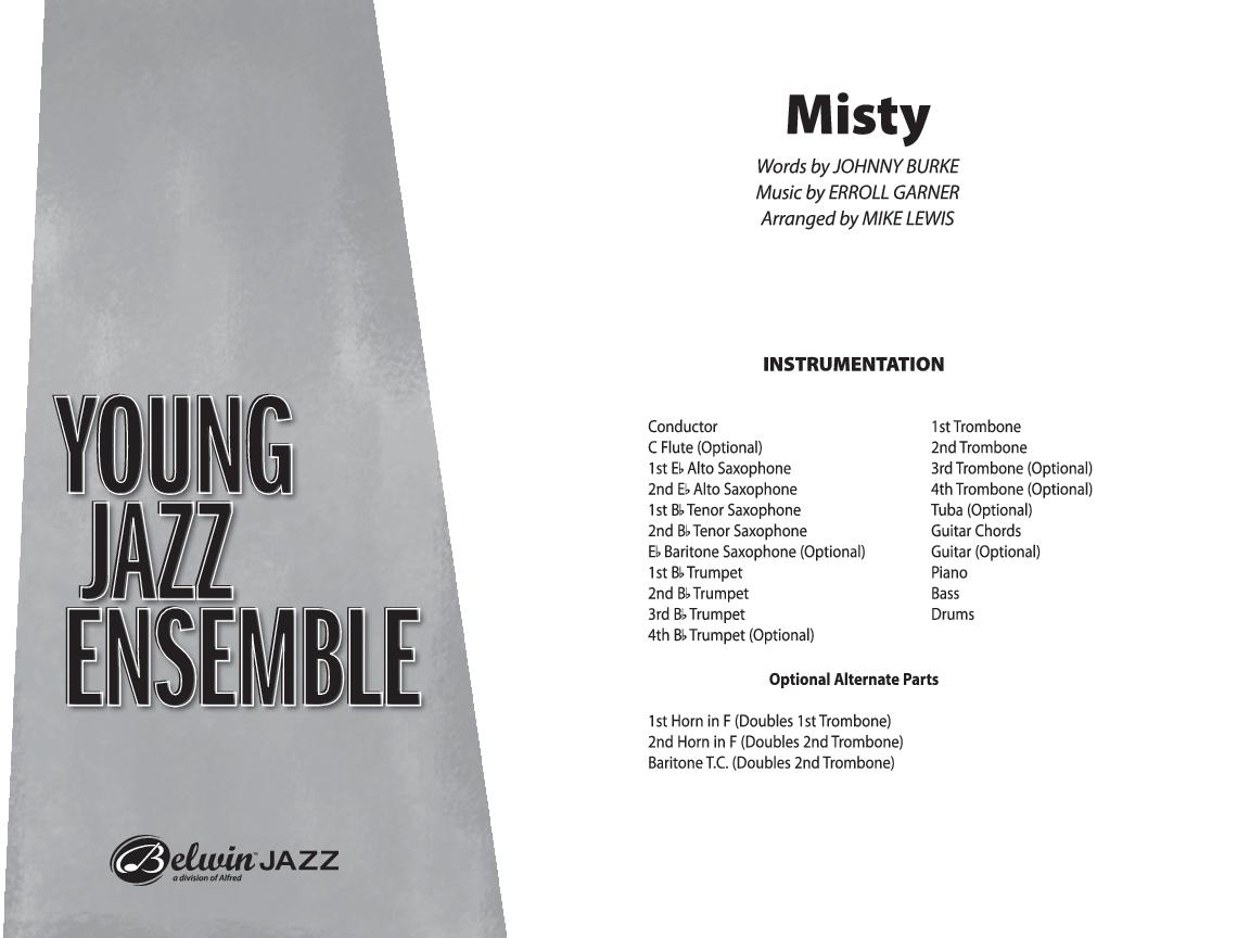 Misty by Errol Garner/arr  Mike Lewis| J W  Pepper Sheet Music