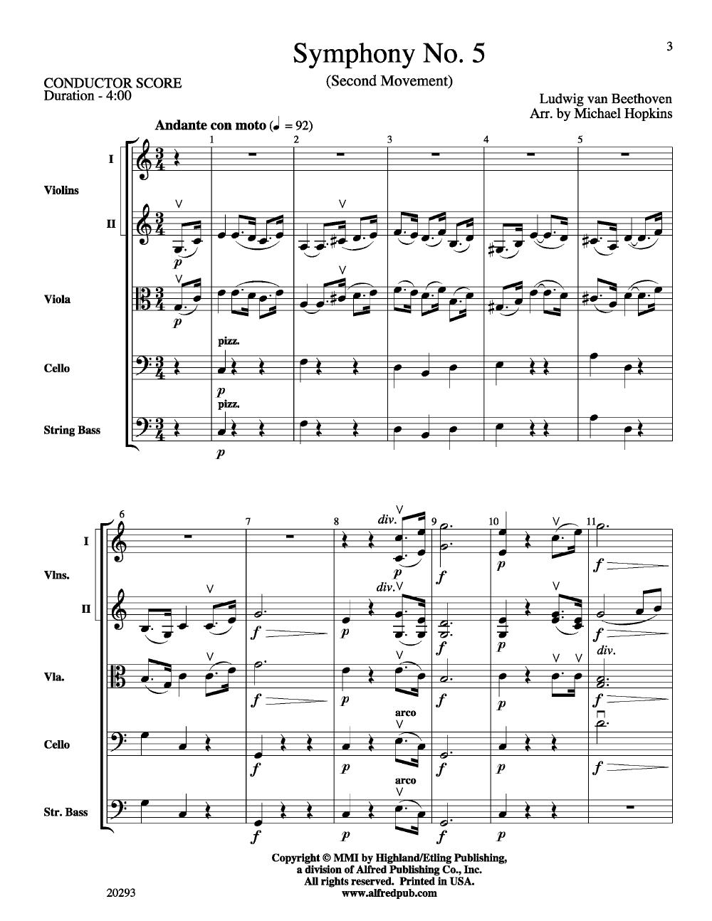 Symphony No  5 Second Movement by Ludwig van Beet | J W