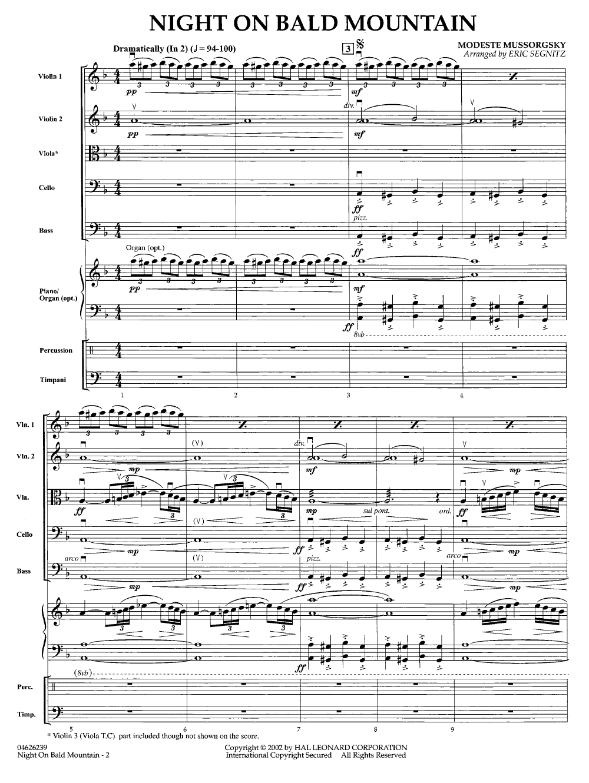 Night on Bald Mountain Mussorgsky Easy Piano Sheet Music