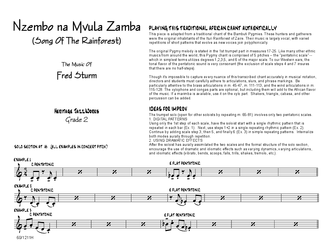Nzembo Na Mvula Zamba by Fred Sturm| J W  Pepper Sheet